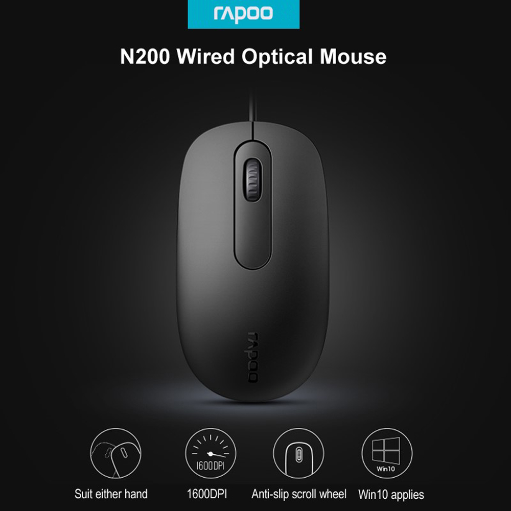 Rapoo N200 USB Wired Optical Gaming Mouse - Black