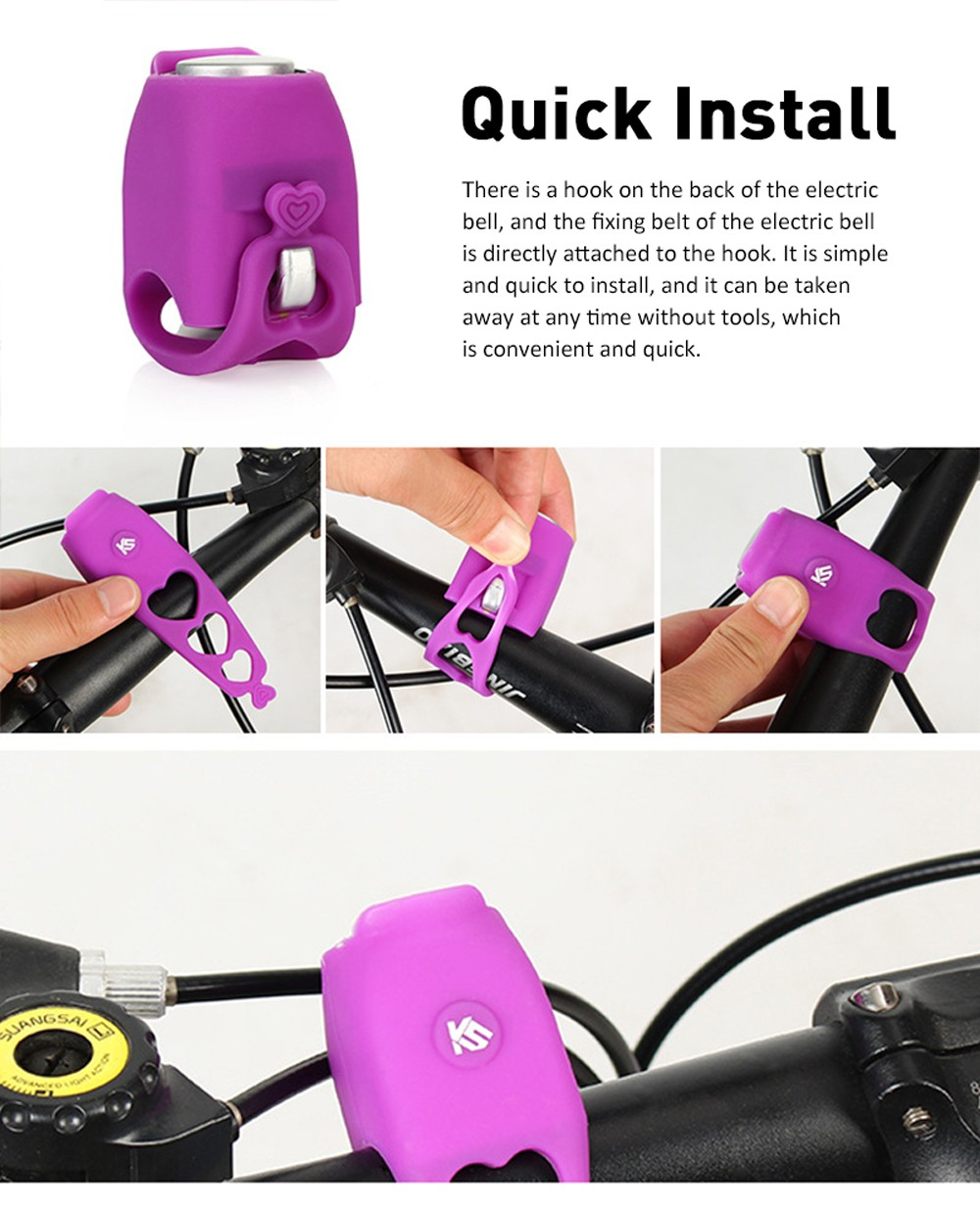 Electric Cycling Bell - Purple