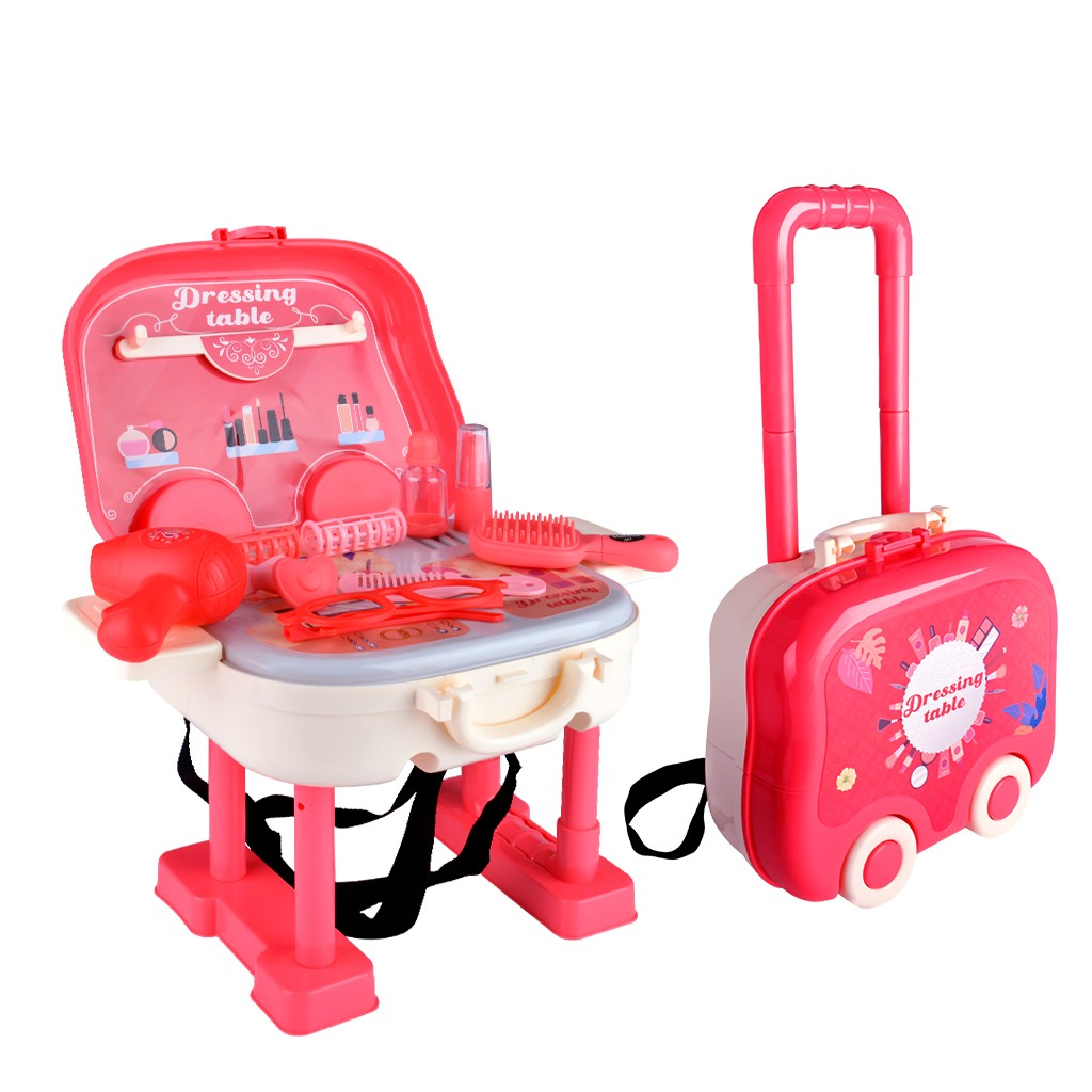 0665 3-in-1 Children Dressing Table Pretend Play Toy 22PCS - Rose Red