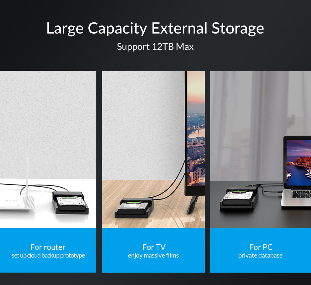 ORICO 6518C3-G2-BK 2.5 / 3.5 inch External Enclosure USB3.1 Type-C Hard Base 10Gbps Rate Theory, 10TB Support Expansion, Mechanical, Universal Solid, Open Cooling - Black UK Plug