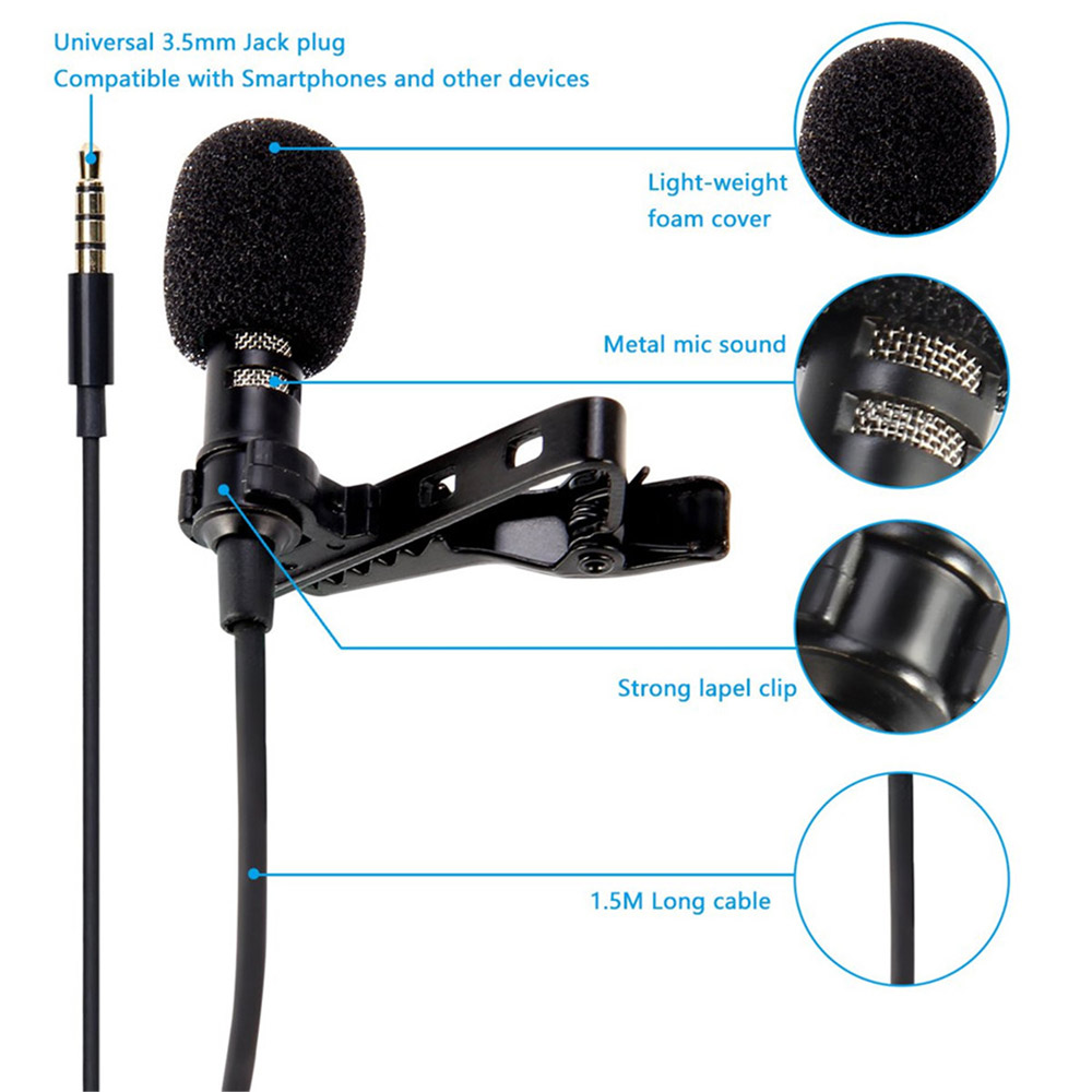 Live Video Conference Recording Voice Vlog Small Lapel Microphone Noise Reduction Microphone 3.5mm - Black