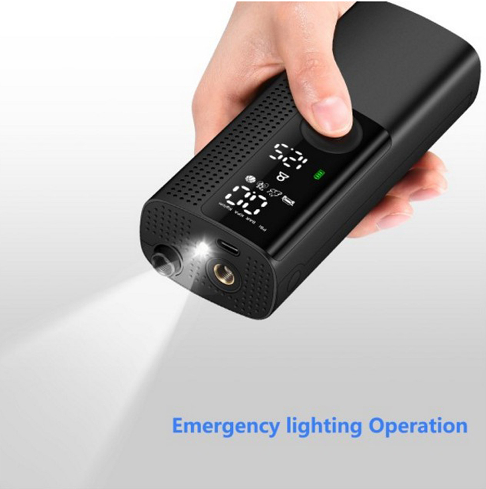 Small Portable Intelligent Multi-function Wireless Air Pump Car Bicycle Tire Electric Vehicle Inflatable Pump - Black