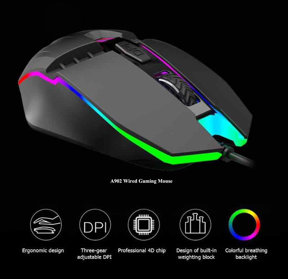 A902 Wired Gaming Mouse Computer Notebook RGB Colorful Glowing Mouse Office Business Mice - Black