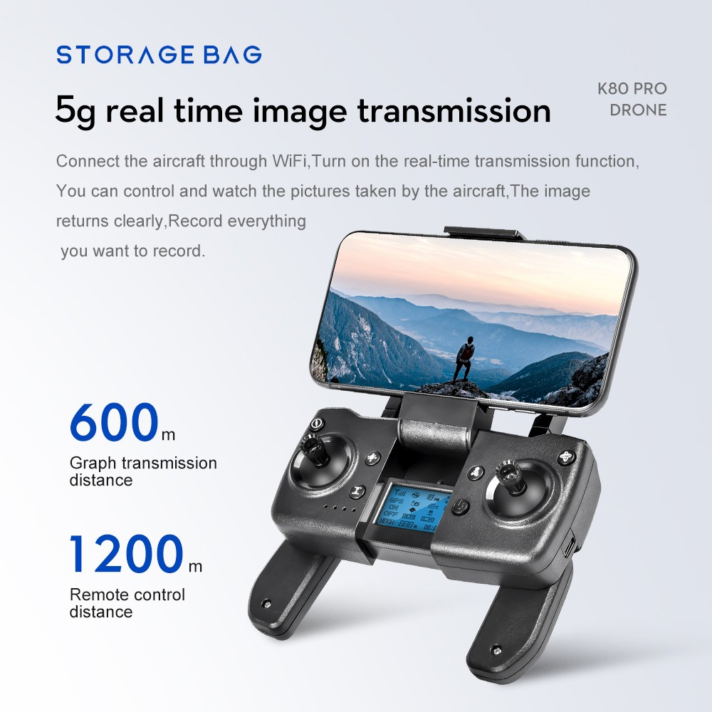 GPS 5G WiFi FPV with 720P Dual Camera 20mins Flight Time Foldable Brushless RC Quadcopter RTF - Gray 2.4g