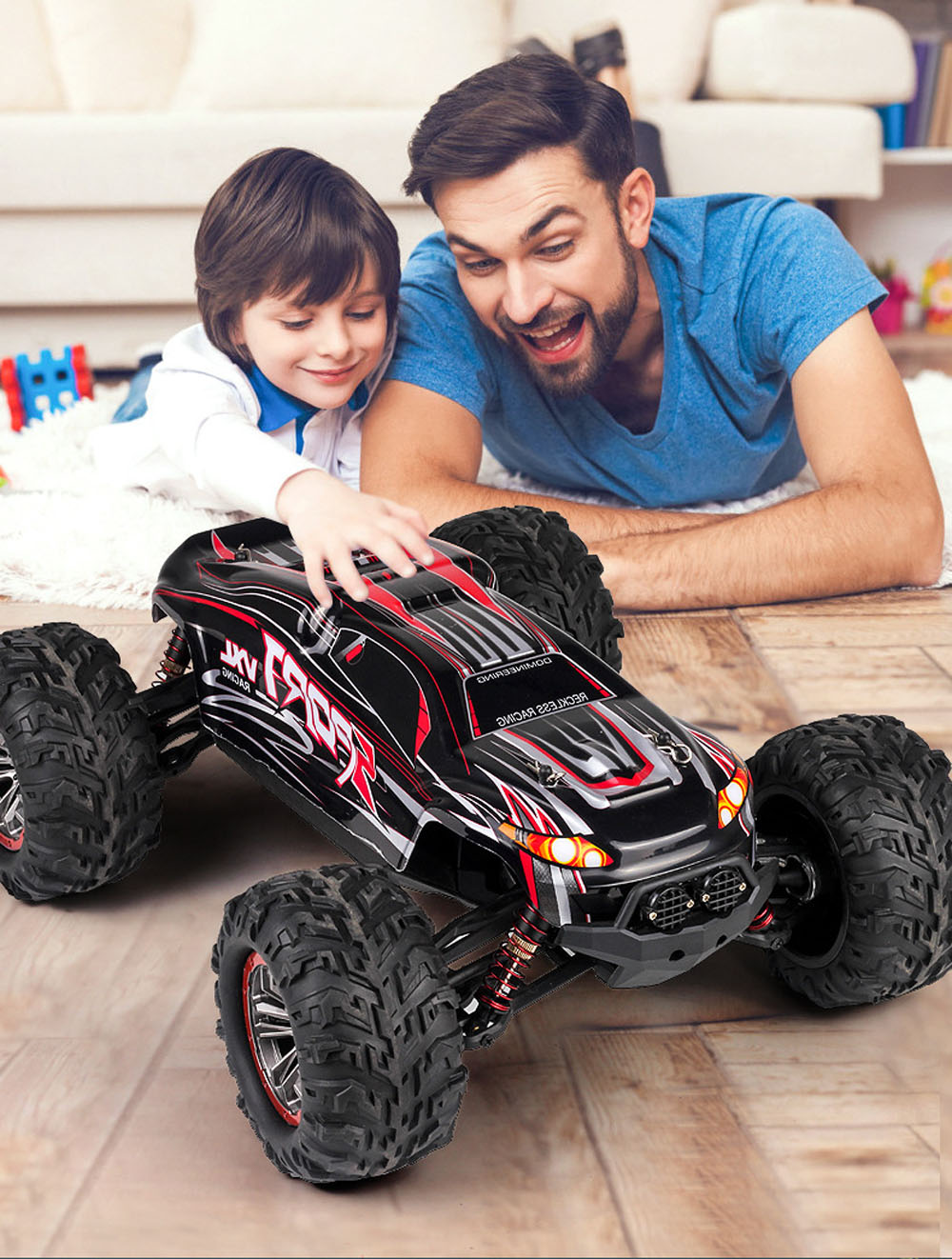 Off-road Crawler Vehicle Alloy Full Scale 1:10 Waterproof Bigfoot 4WD High Speed Model Car Amphibious RC Remote Control Car Toy - Red Brushless x-04A