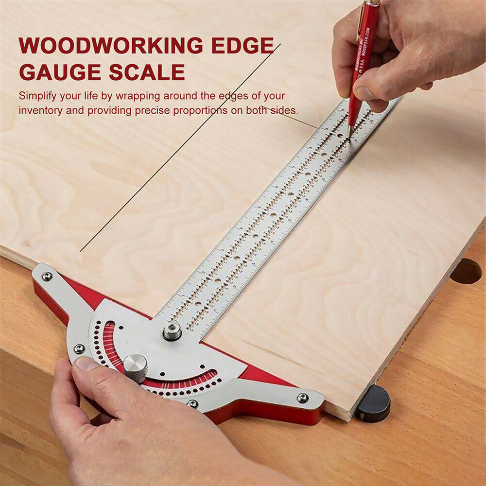 Woodworkers Edge Rule Efficient Protractor Edge Ruler Stainless Steel Measuring Ruler Scale Plastic Caliper Carpentry Tool - Silver 10 inch