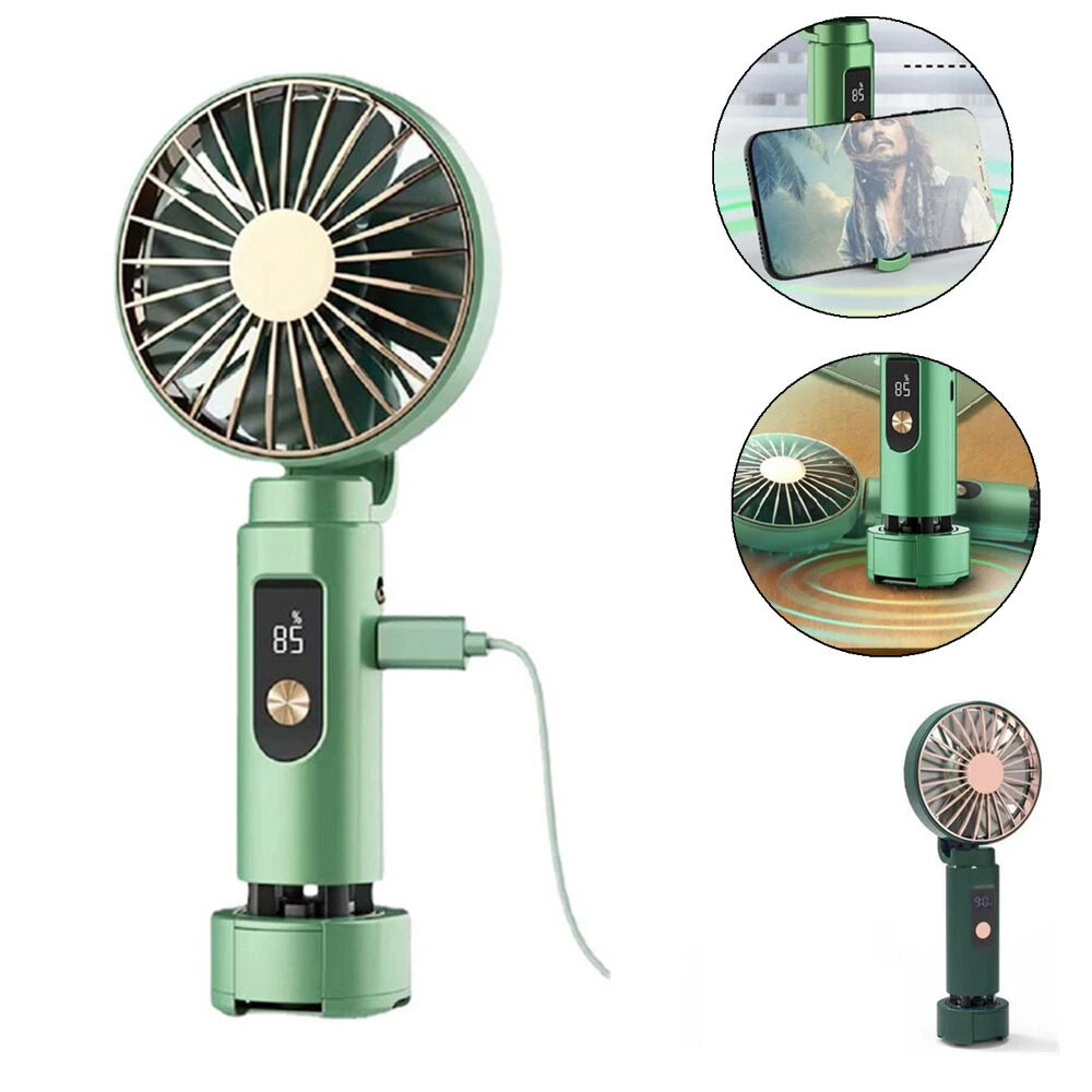 X03 Mini Handheld Fan With Bluetooth Music Cell Phone Holder Multi-Function USB Charging Silent Fan Portable Outdoor Camping Travel - Green