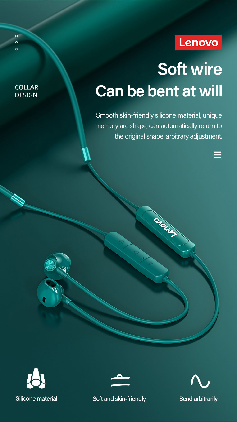 Lenovo SH1 BT5.0 Wireless Headphones Sports Headphones With Double Denovate / Dynamic Drive / IPX5 Waterproof / Ergonomic Music Running Long Runless Waiting Wireless Bluetooth TWS Headphones Compatible With IOS Android - Sea Green