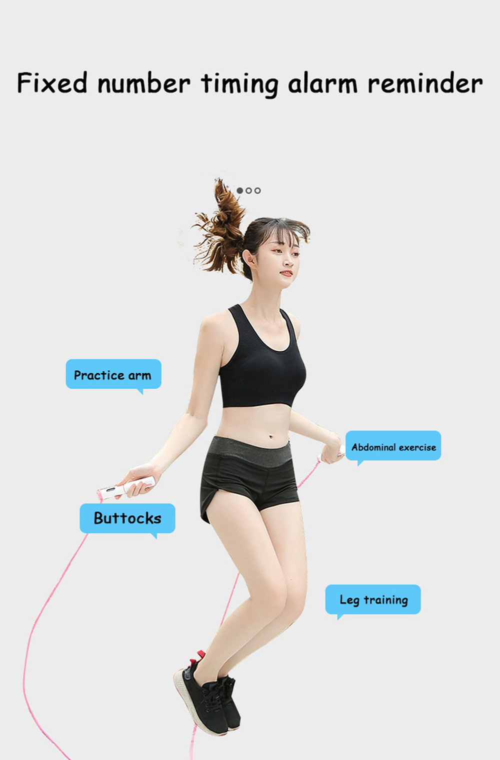 Smart Cordless Skipping Rope Counting Exercise Weight-bearing Fitness Weight Loss Indoor Exercise Jumping Rope - Day Sky Blue