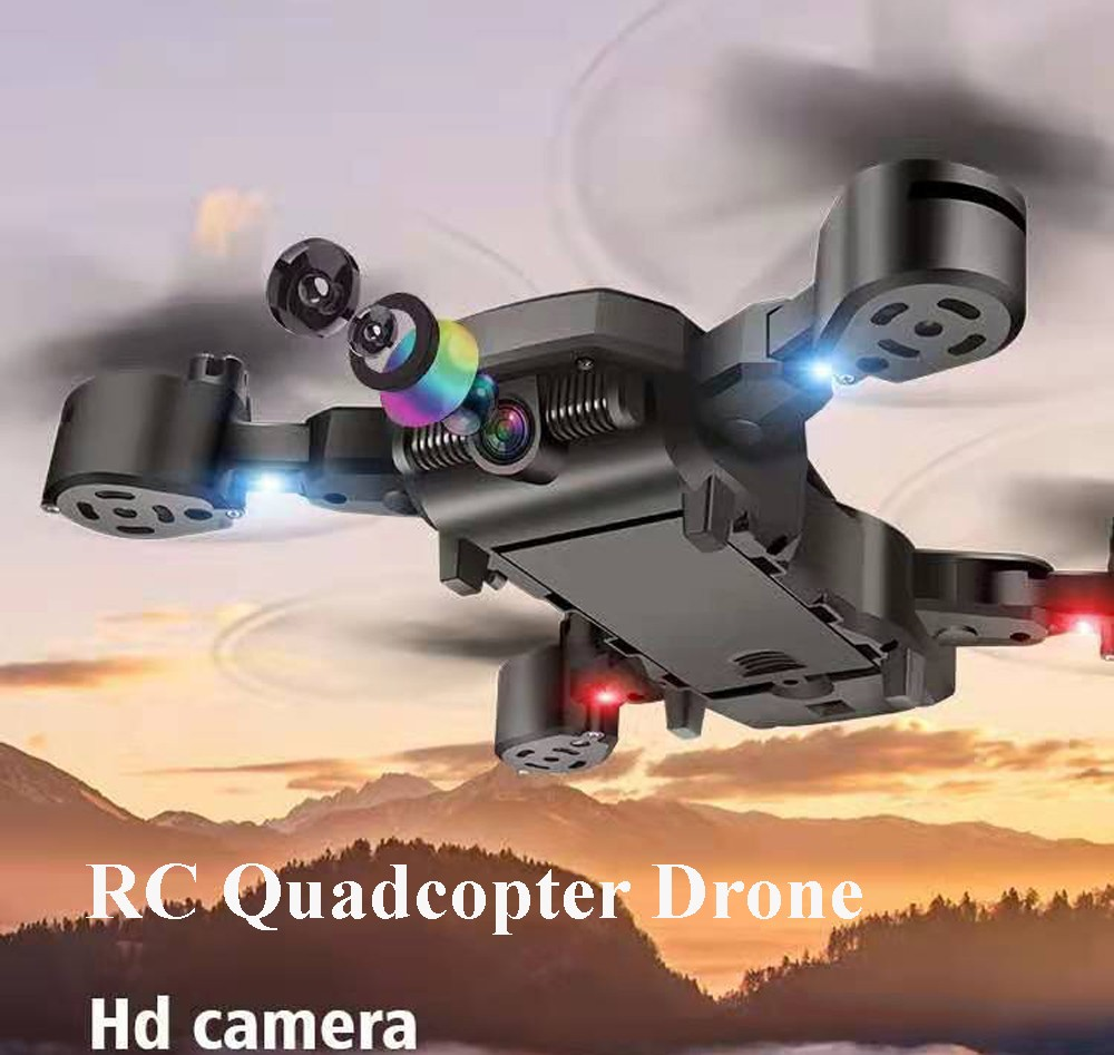 Folding Aerial Photography Aircraft Children Remote Control Airplane Toy 4K HD Shooting Mini RC Quadcopter Drone - Black 4K aerial version