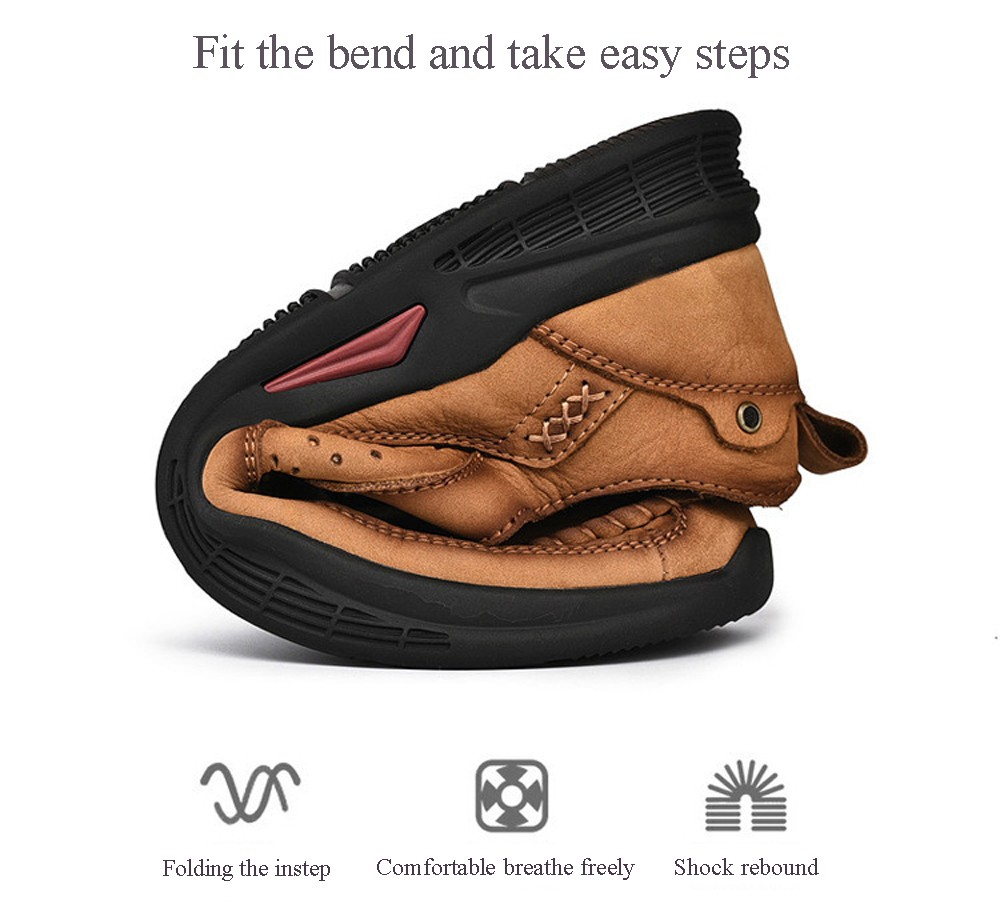 Men Leather Comfy Casual Shoes Round Toe Solid Pattern - Brown EU 46