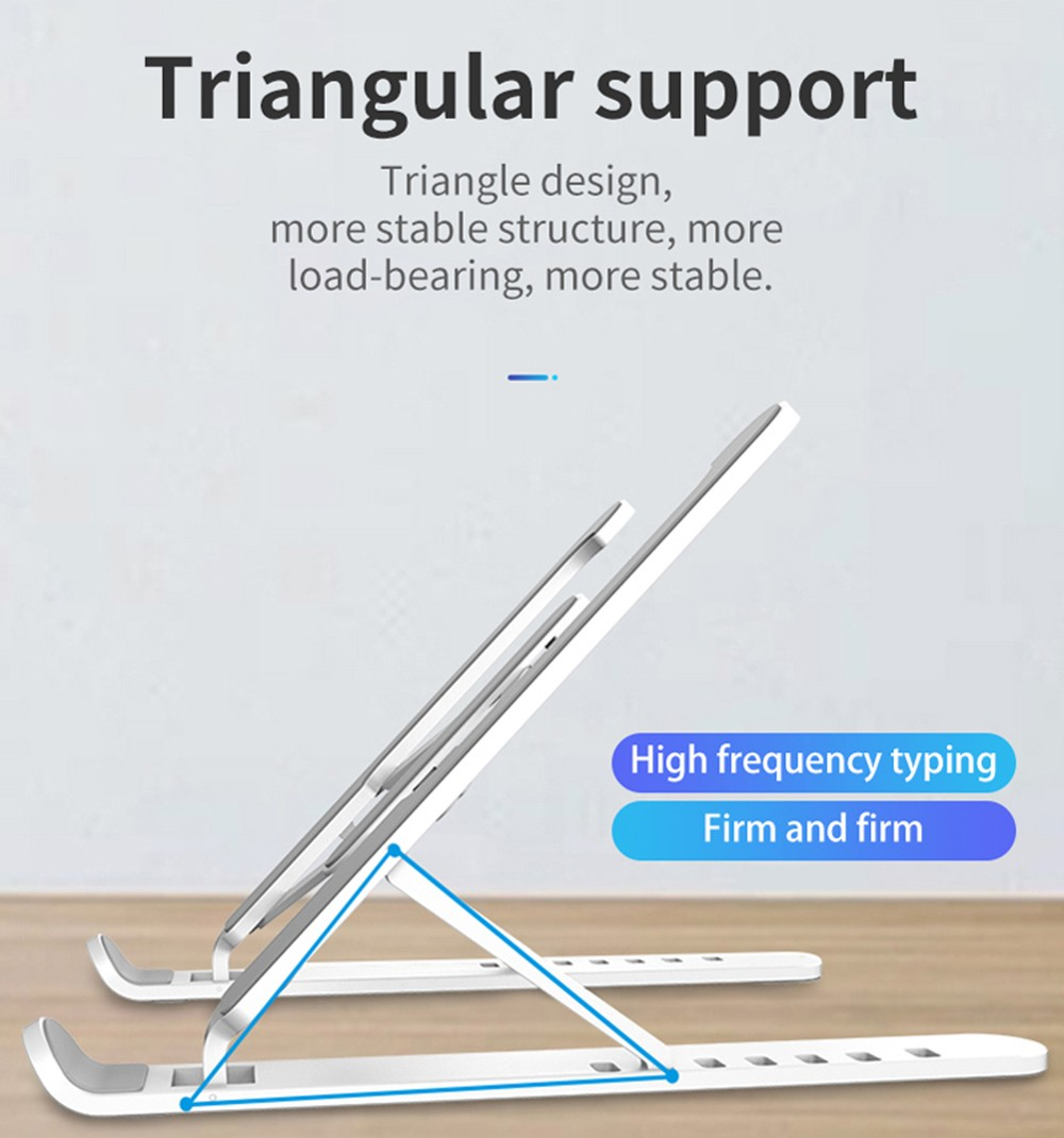 Liftable Laptop Computer Cooling Stand Desktop Foldable Bracket for Macbook Pro / Lapdesk - Crystal Cream