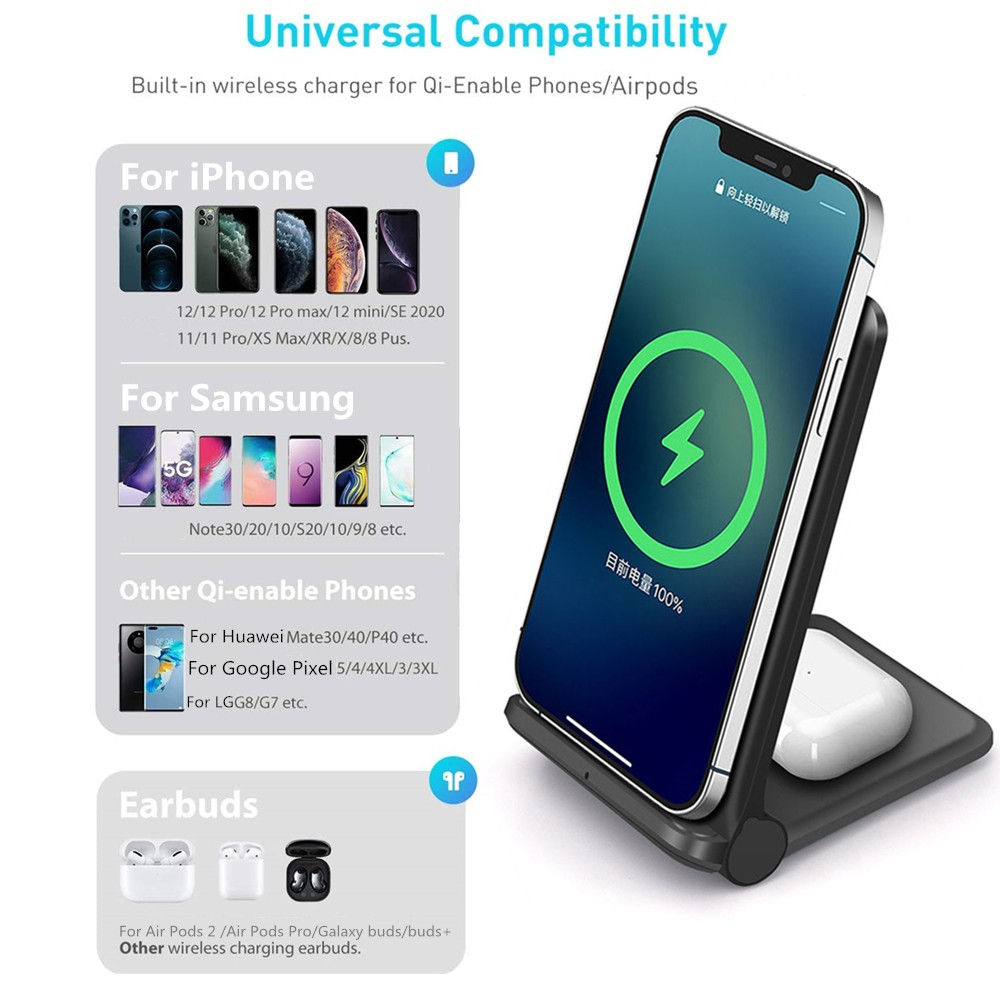 2-in-1 20W Qi Wireless Charger - White