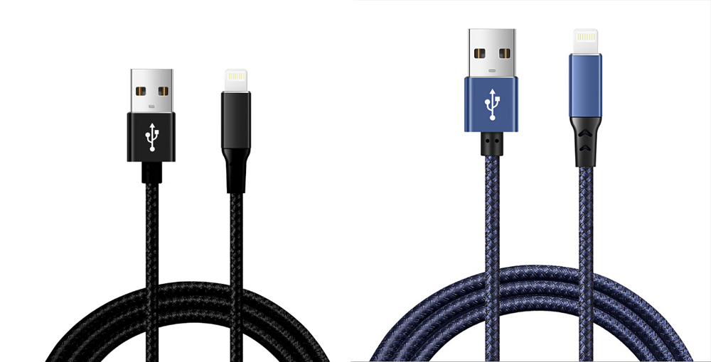 2.4A High Quality Metal Charging Data Cable for Apple Length 1.1M - Black