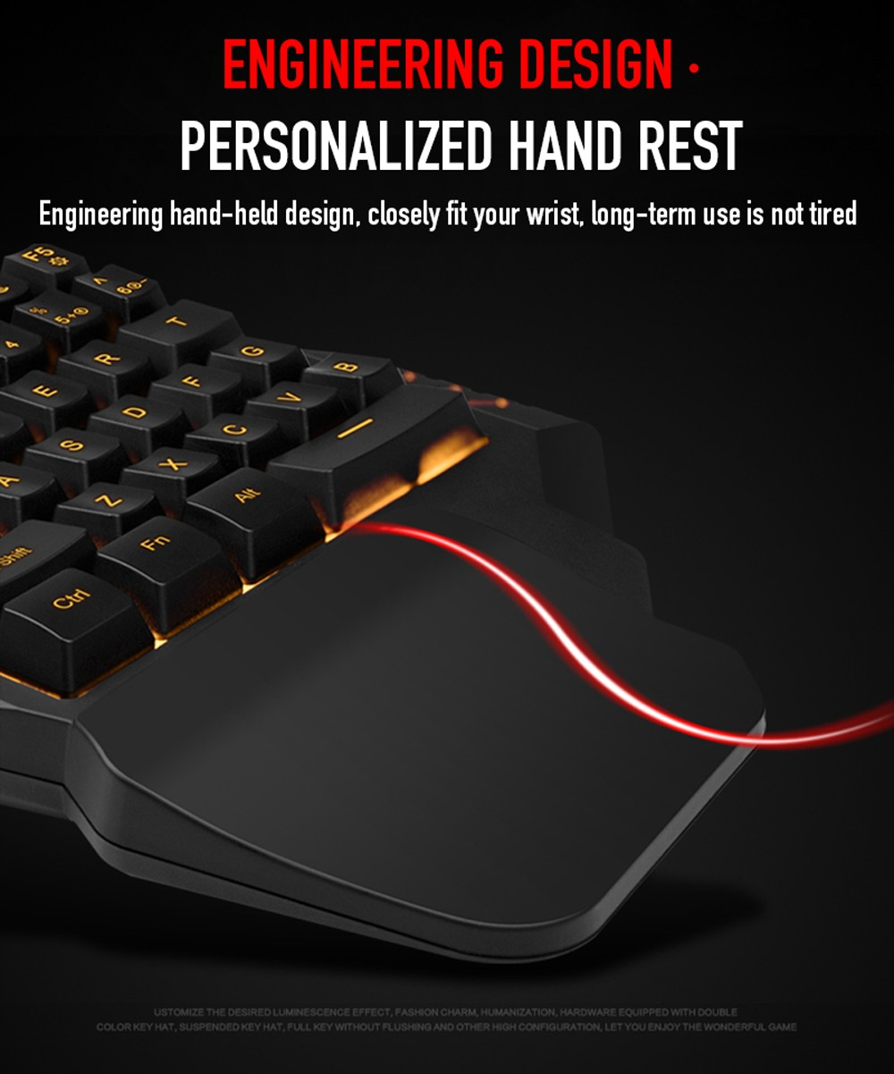 G92 One-handed Wired Gaming Keyboard with 35-Key RGB Colorful Backlight Manipulator Sense for PC Gamer - Black