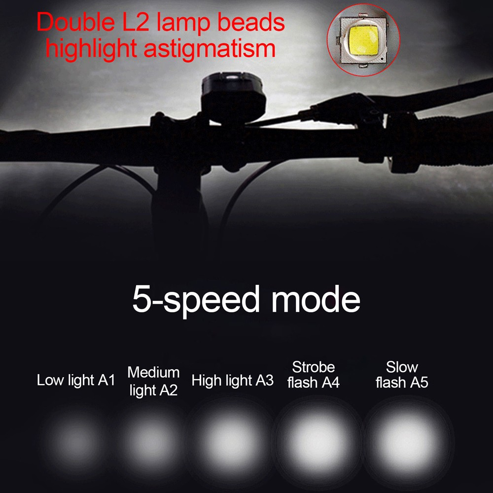 Y18 Bicycle Headlight New LED Lamp L2 Mountain Riding Single Lamp USB Charging Equipment Riding Outdoor Light - Black