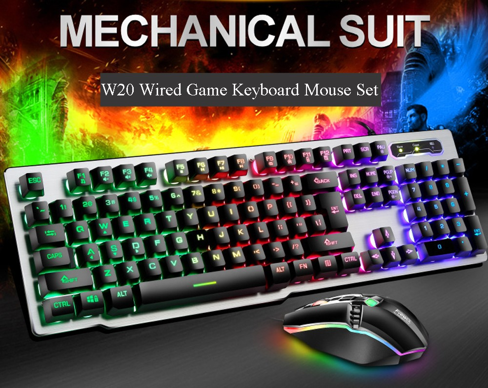 W20 Wired Game Keyboard And Mouse Metal Set - White