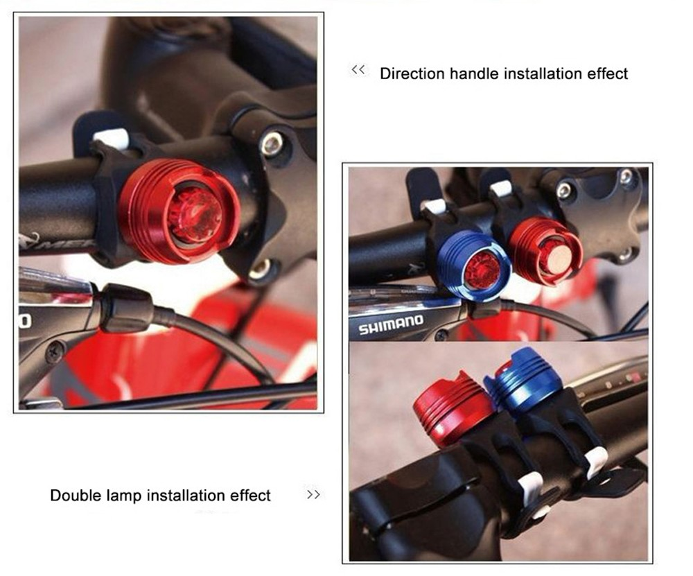 Bicycle Bike Lamp Aluminum Alloy Warning Light USB Charging Safety Front Tail Light Tool-Free - Blue