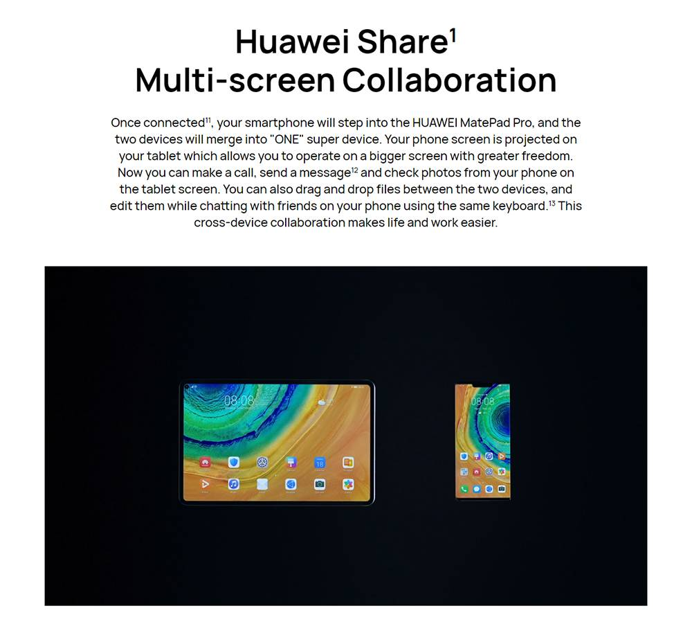 HUAWEI MatePad Pro 10.8 inch Tablet PC with IPS Full Screen Kirin 990 Chip Octa Core CPU Support Dual WiFi for Office - White 8GB+256GB WiFi