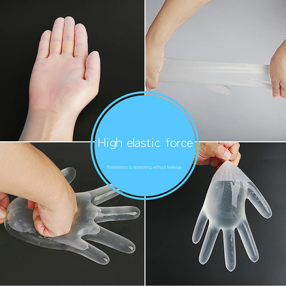 Transparent Disposable Protective Gloves Environmentally Friendly PVC Gloves Food Grade Cleaning Tools 100pcs - Transparent M