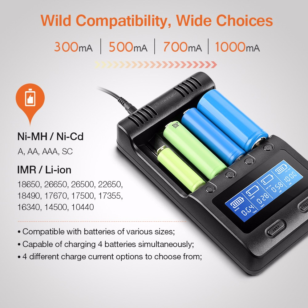 Zanflare C4 Multifunctional Battery Charger 2967 Free Shipping Simple Nimh Circuit Batterycharger Powersupply Black Us Plug