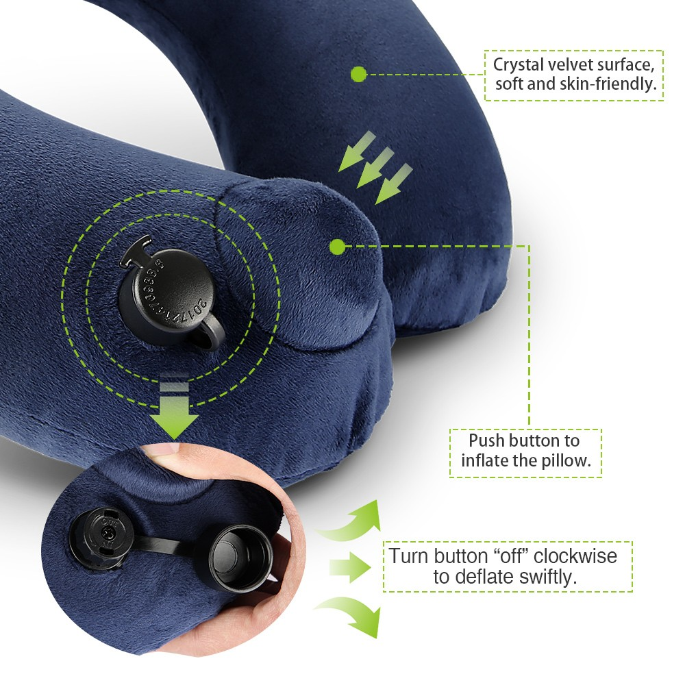 Cozzine Inflatable Pillow with Blindfold and Pair of Earplug