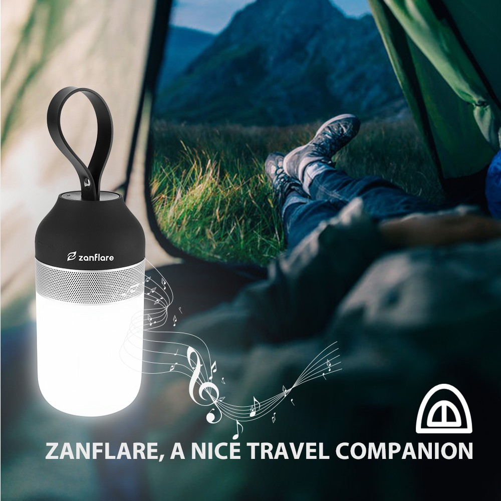 Gearbest zanflare Portable Outdoor Smart Speaker Light - WHITE AND BLACK