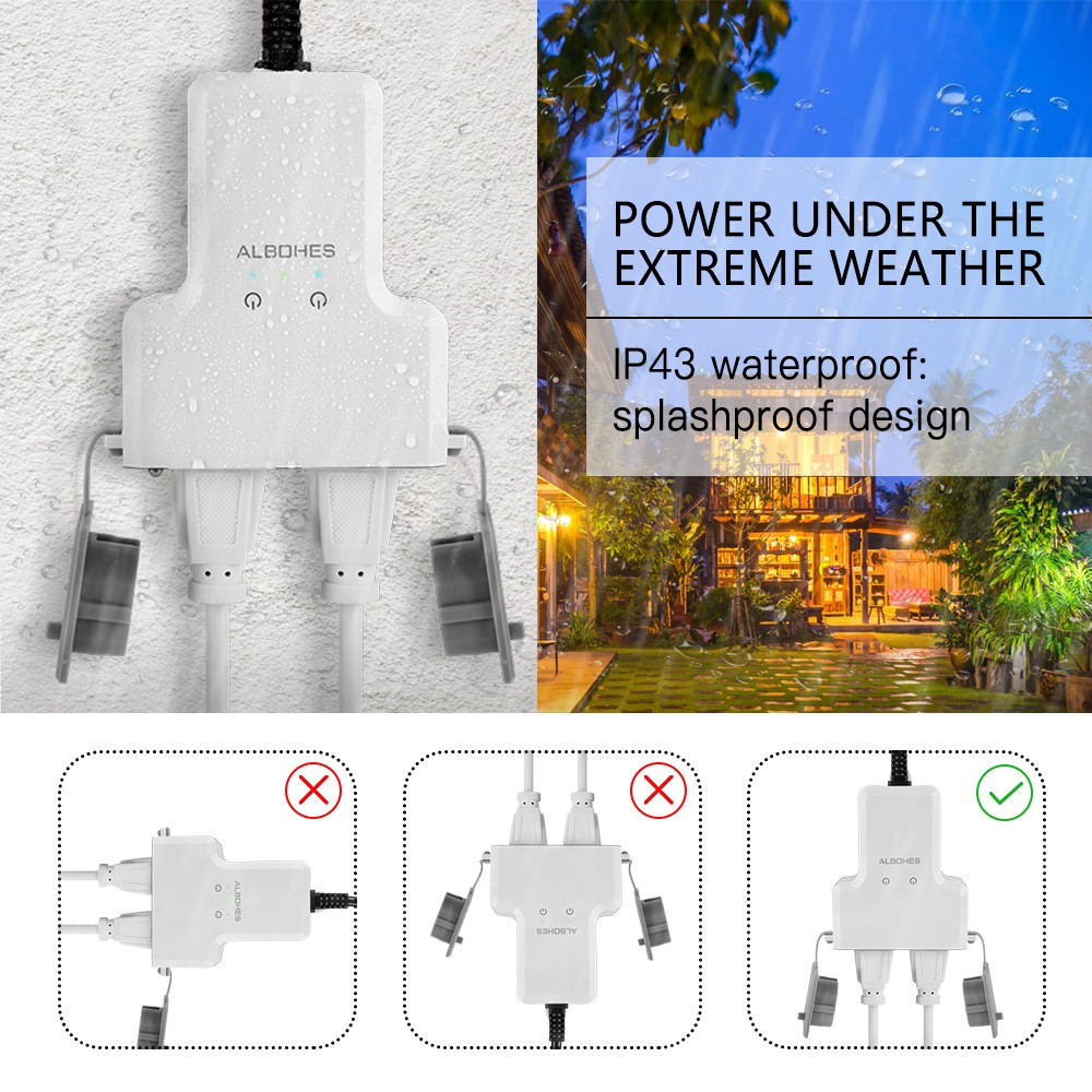 ALBOHES PS - 1606 WiFi Waterproof Smart Plug Socket- White 20CM Cable
