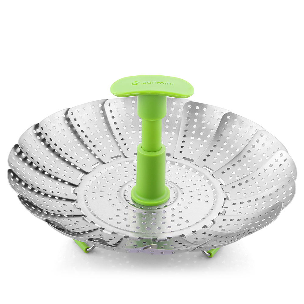 zanmini ZS3 9inch Stainless Steel Collapsible Food Steamer Basket- Silver Small