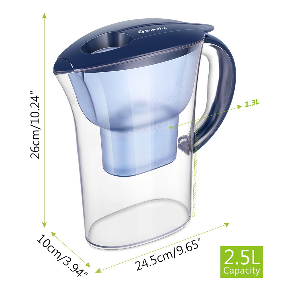 zanmini Water Pitcher with Filter- Navy Blue