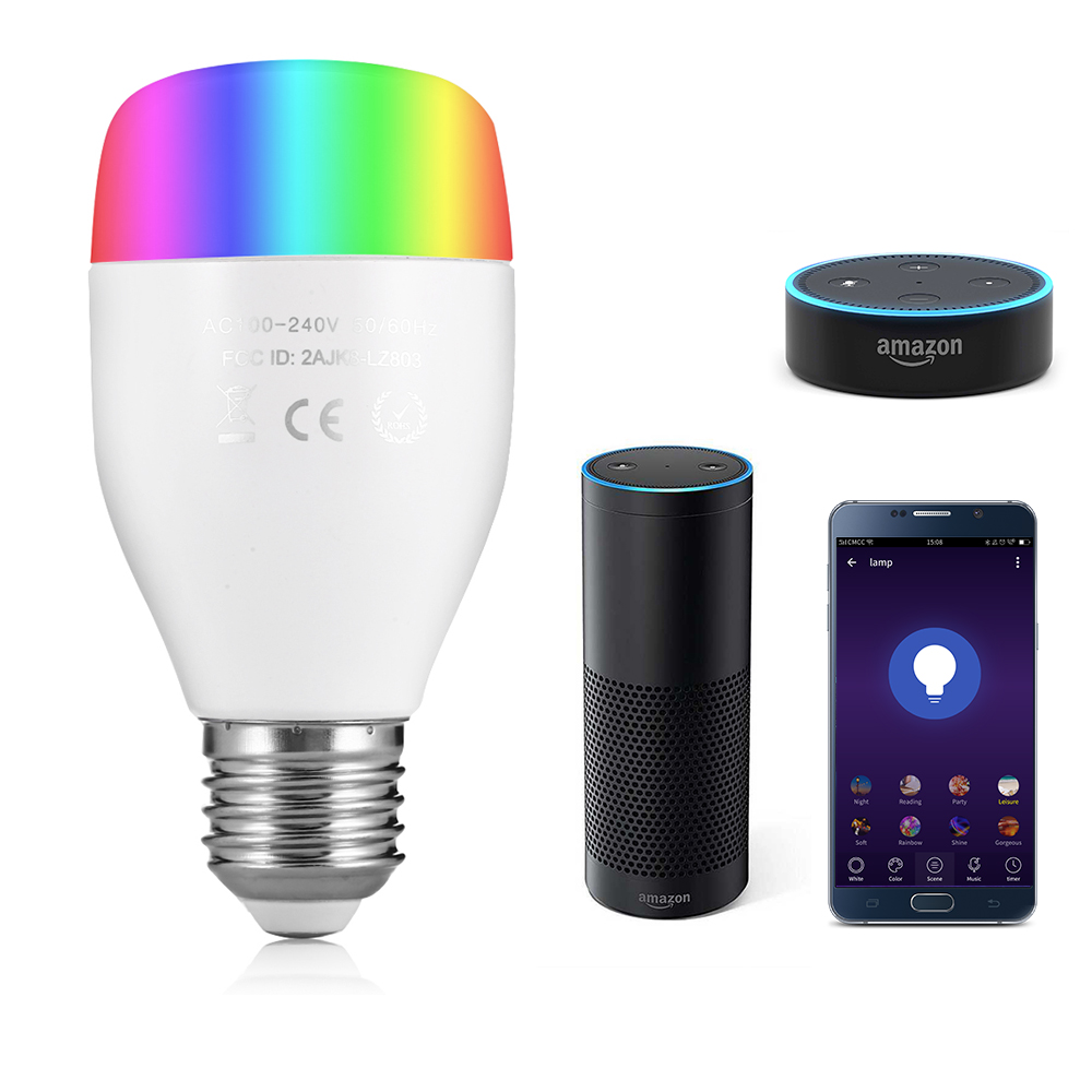 Utorch LE7 E27 WiFi Ampoule LED Intelligente à Contrôle Vocal / App Blanc 1PC