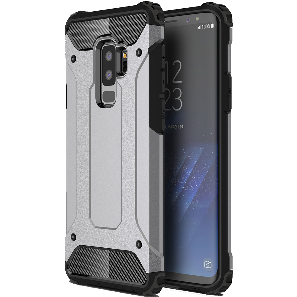 ASLING TPU Impact Bumper Protector Shield Case for Samsung Galaxy S9 Plus - Silver