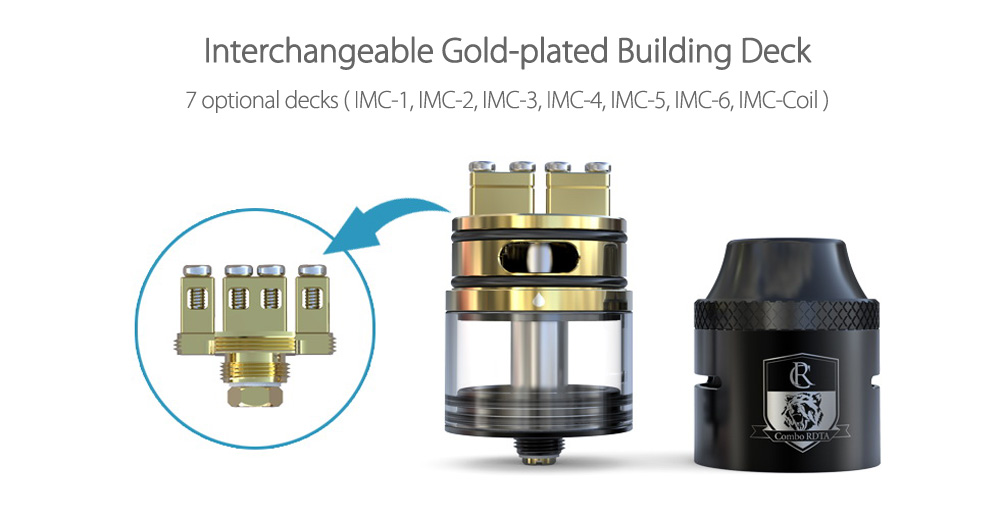 Original IJOY COMBO RDTA with Interchangeable Gold-plated Building Deck / 6.5ml Tank Capacity / Side Filling Design for E Cigarette