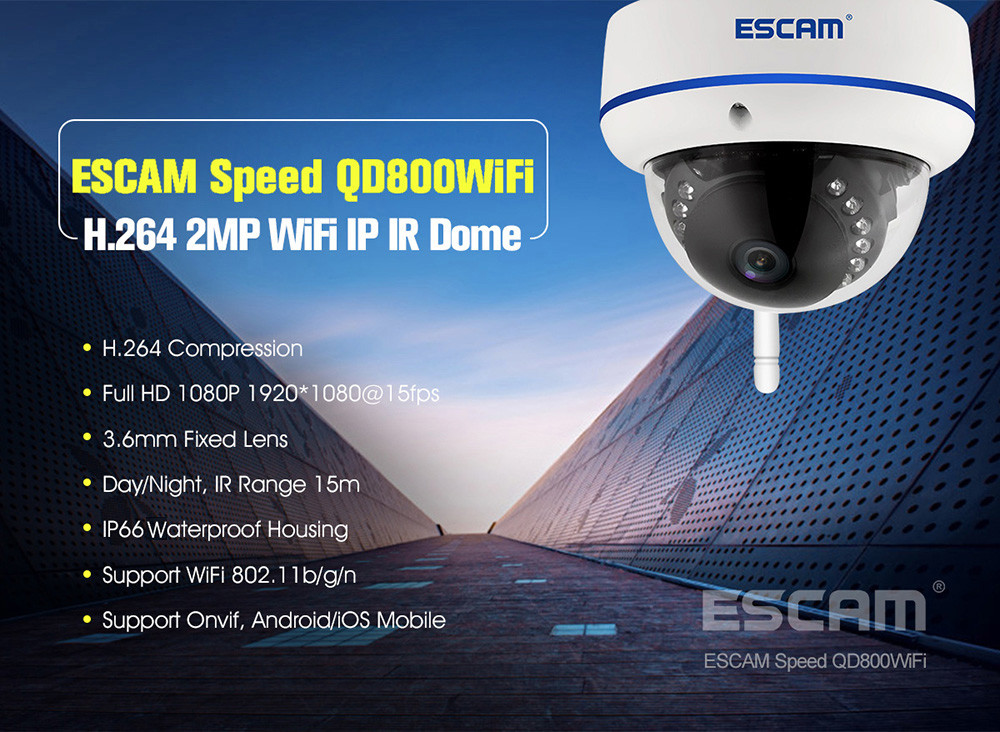 ESCAM Speed QD800WiFi 1080P FHD H.264 IP Dome Camera - $79.64 Free ...