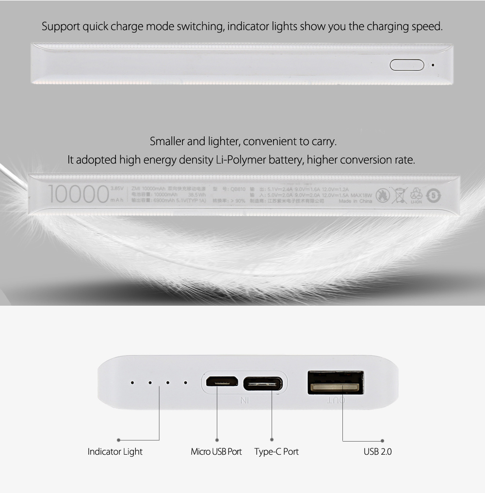 Original ZMI Bidirectional Quick Charge 10000mAh Portable Power Bank Double Input Type-C Micro USB Interface- White