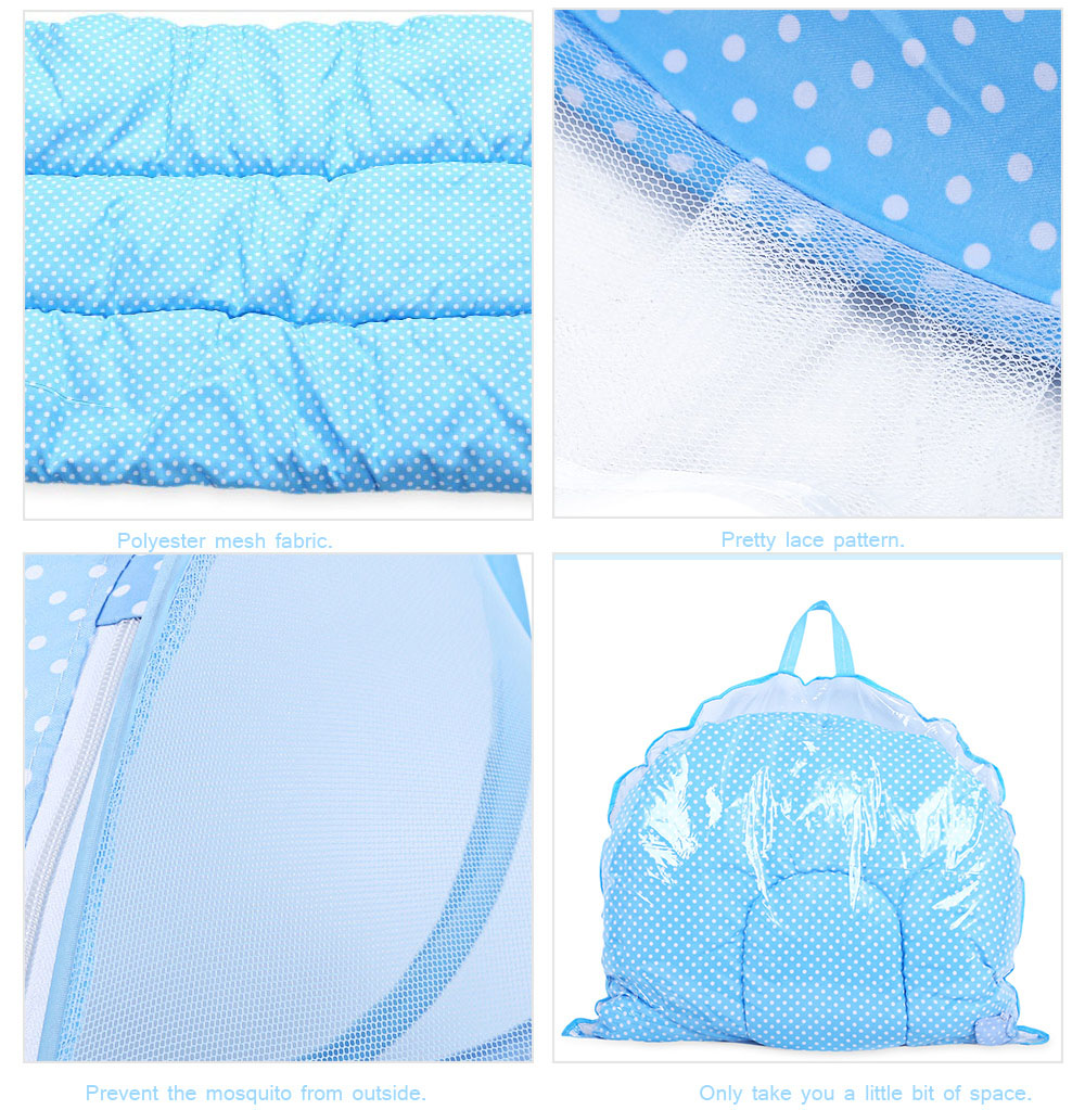 4pcs Portable Type Comfortable Babies Sealed Mosquito Net Mattress Pillow Mesh Bag - Blue High-quality Version
