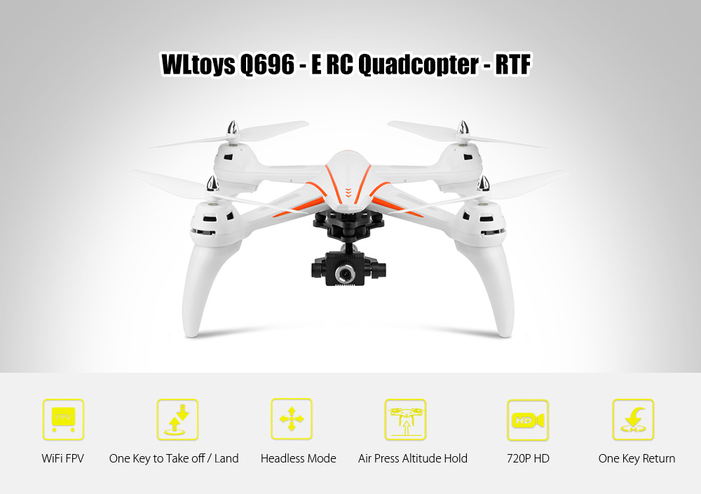 WLtoys Q696 - E RC Drone RTF WiFi FPV 2MP Camera 720P HD / 2.4GHz 4CH Dual-way Transmitter / 2-axis Gimbal