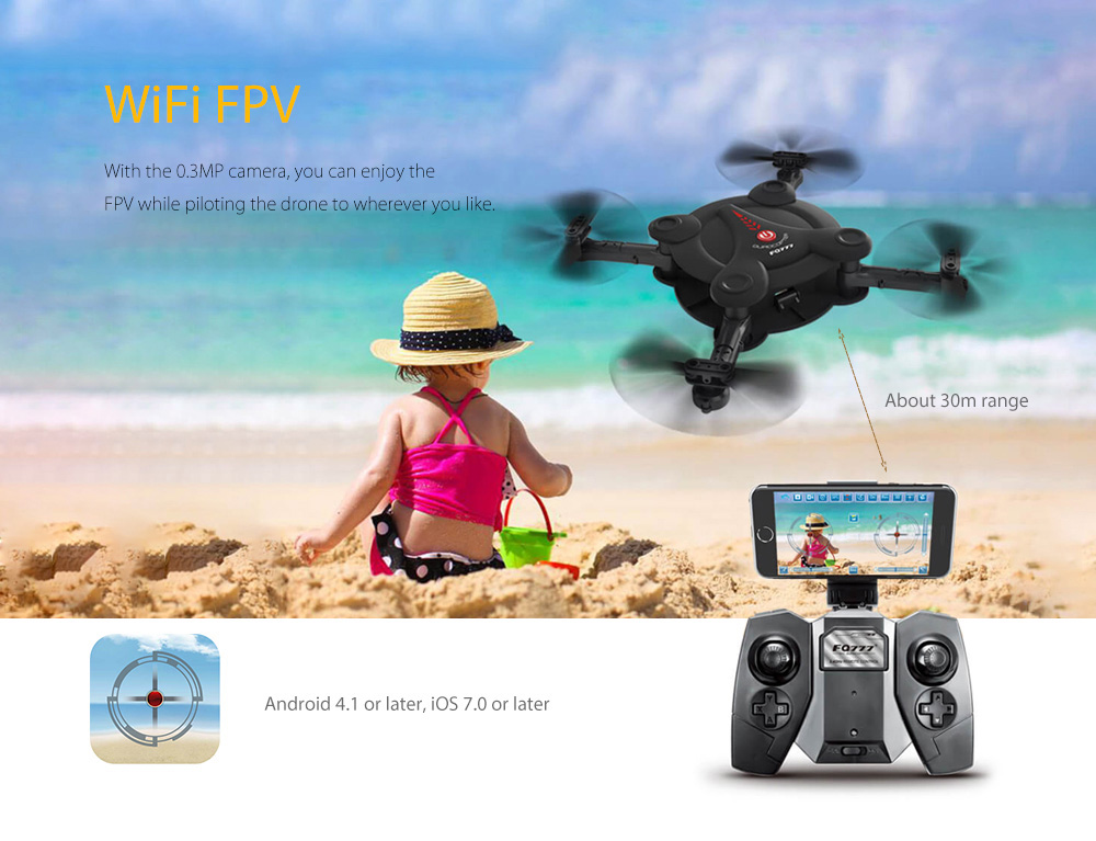 FQ777 FQ17W Foldable Mini RC Pocket Drone RTF WiFi FPV 0.3MP Camera / G-sensor Mode / Air Press Altitude Hold