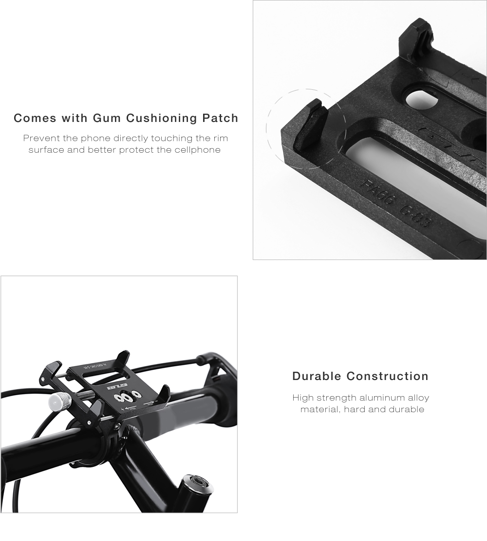 GUB G - 85 Aluminum Alloy Bicycle Handlebar Bike Phone Mount Cycling Holder Stand for Smart Mobile Cellphone- Black