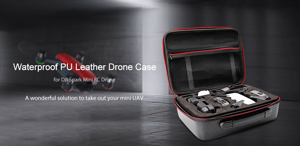 Waterproof PU Leather Drone Case with EVA Foam Protection for DJI Spark
