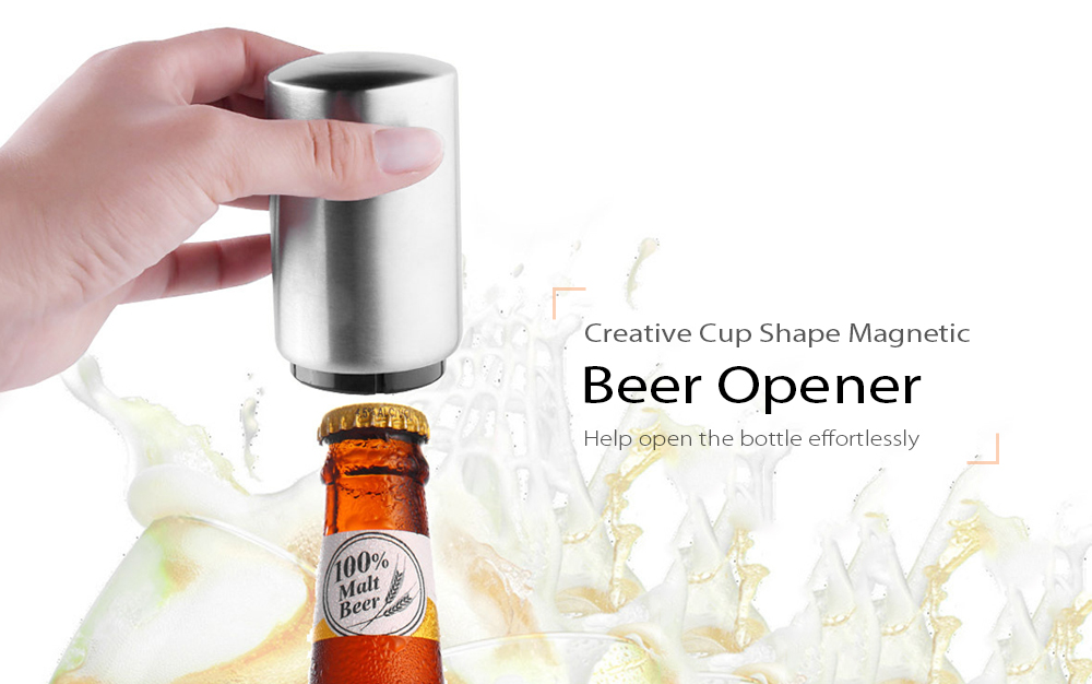 Stainless Steel Cup Shape Beer Opener Automatic Wine Bottle Soda Easy Opening Kitchen Bar Tools  - Stainless Steel