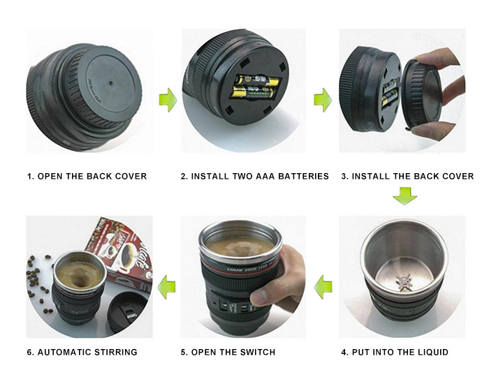 Creative SLR Camera Lens Shape Electric Stirring Coffee Cup- Black 8.2*12.7CM