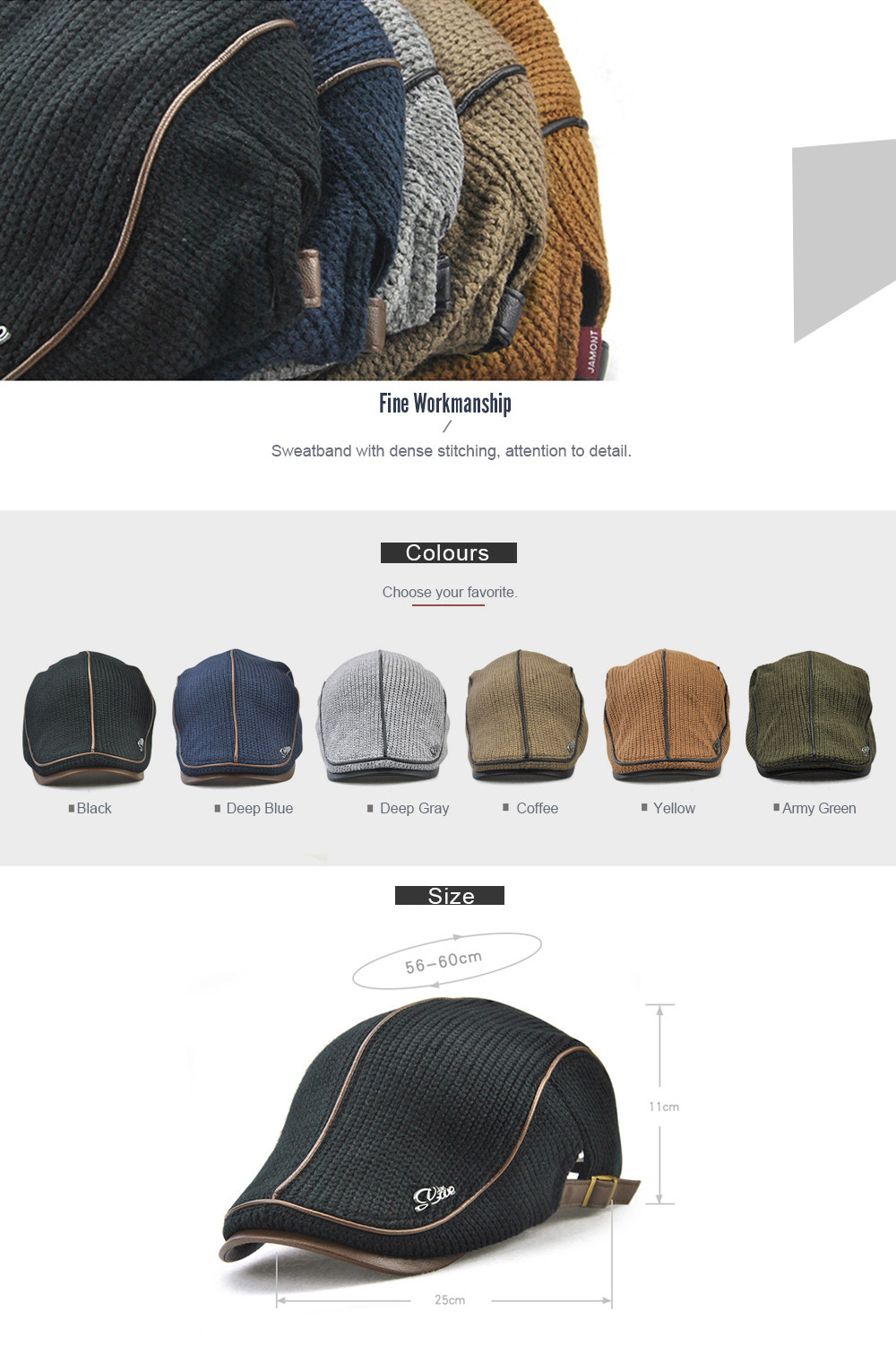 e094feed898d4 JAMONT Men Thicken Keep Warm Knitted Peaked Cap- Coffee