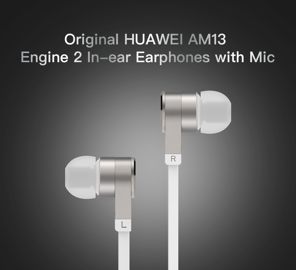 Original HUAWEI AM13 Engine 2 In-ear Earphones Stereo Piston Earbuds with Mic- Silver