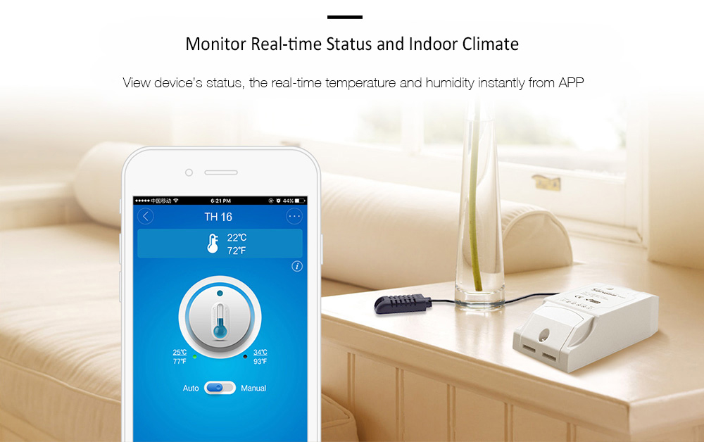 SONOFF TH16 Temperature Humidity Monitoring WiFi Smart Switch for Smart Home- White