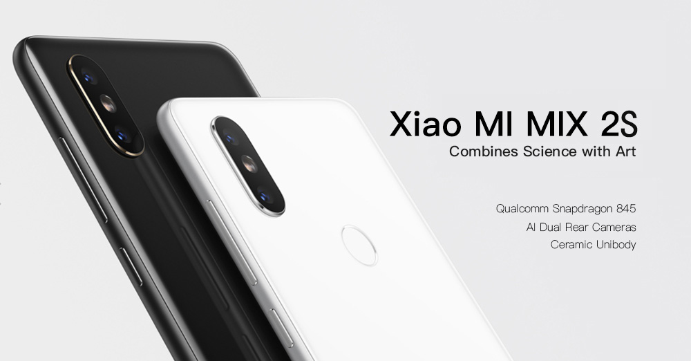 Xiaomi MI MIX 2S 4G Phablet 5.99 inch MIUI 9 Qualcomm Snapdragon 845 Octa Core 2.8GHz 6GB RAM 64GB ROM Dual Rear Cameras Bluetooth 5.0 Fingerprint Recognition Wireless Charging- Black 6+64GB