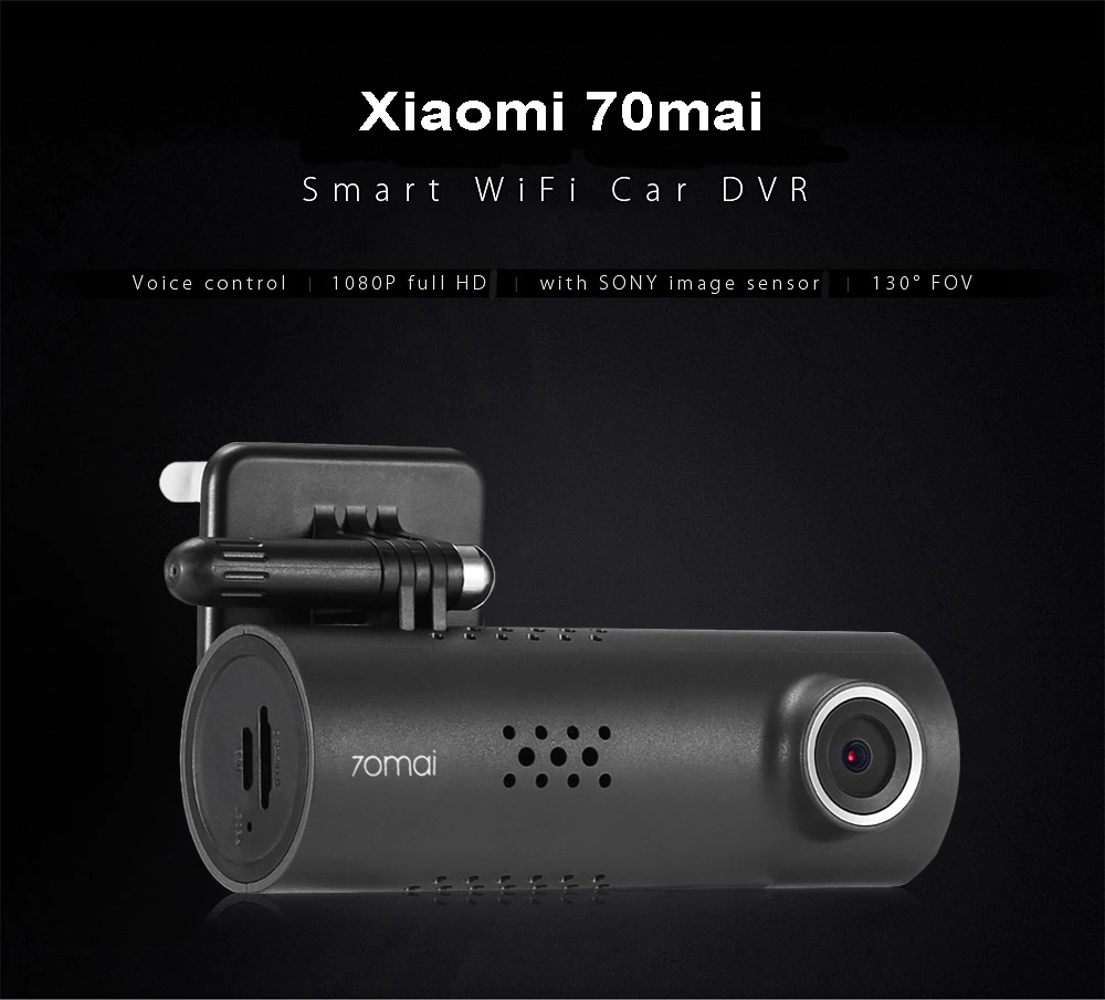 Xiaomi 70mai Dash Cam Smart WiFi Car DVR International Version 1080P 130 Degree Wide Angle- Midnight