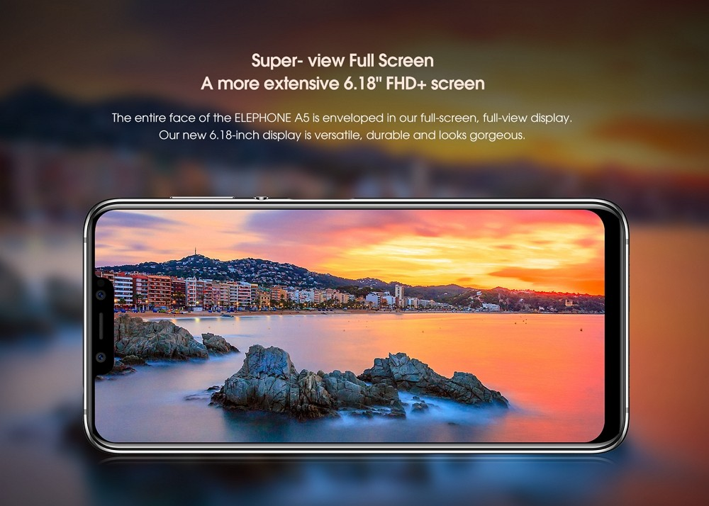 Elephone A5 4G Phablet 6.18 inch Android 8.1 MT6771 Octa Core 2.0GHz 12.0MP + 5.0MP + 0.3MP Rear Camera 20.0MP + 2.0MP Front Camera 4GB RAM 64GB ROM Sise Fingerprint 4000 mAh Built-in  European Union   - Twilight European Union