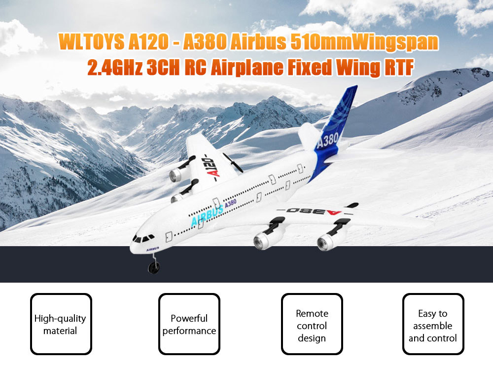 WLTOYS A120 - A380 Airbus 510mm Wingspan 2.4GHz 3CH RC Airplane Fixed Wing RTF Scale Aeromodelling with Remote Controller- White