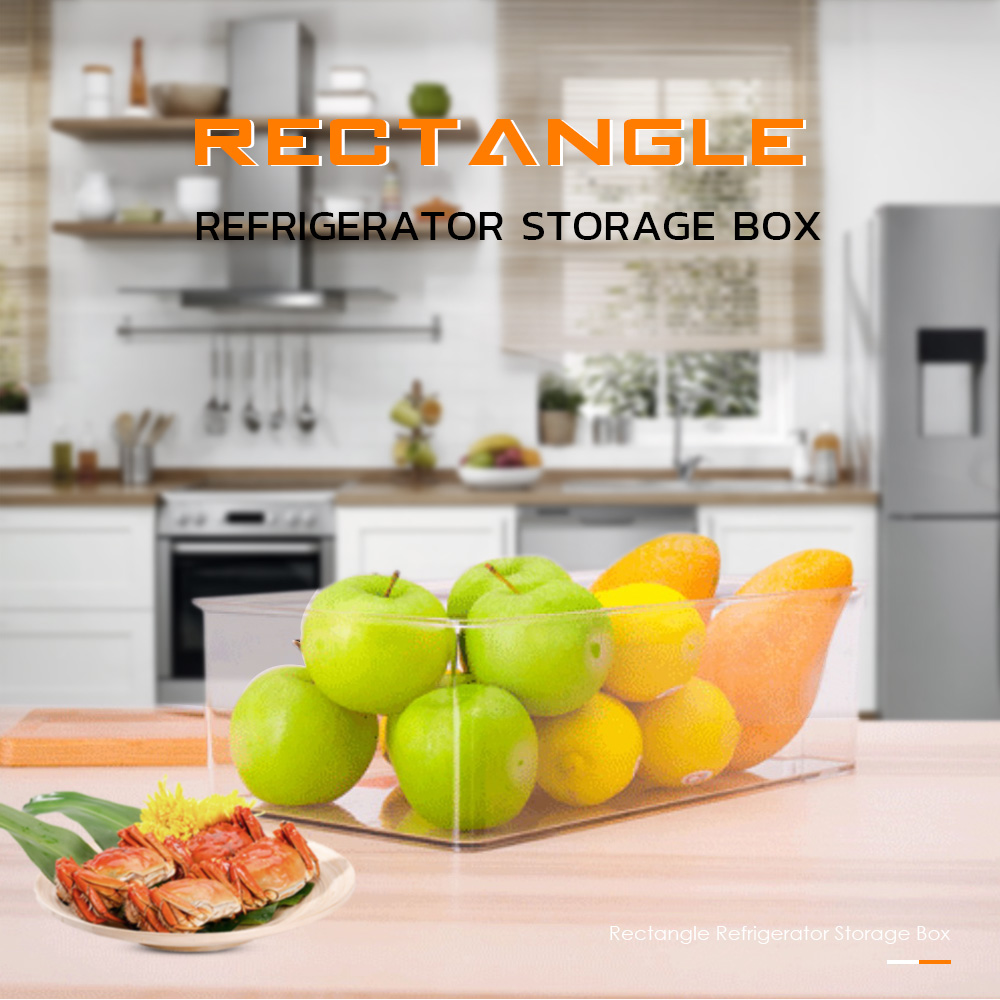 Refrigerator Storage Box Rectangle Fridge Bin Kitchen Cabinet